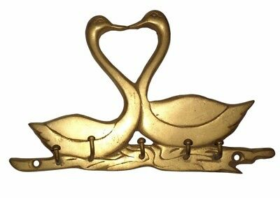 A Vintage Brass made Unique Nicely Engraved '2 SWANS' SHAPE COAT HOOK from India