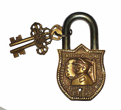 An Unusual Vintage Look Brass made Captain Face design PADLOCK 2 keys INDIA