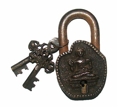 An Unusual vintage Brass LORD BUDDHA MANTRA PADLOCK with 2 keys from India