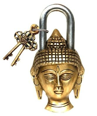 Buddha Design Handmade Vintage Antique Style Brass Buddha Padlock + Unique Keys
