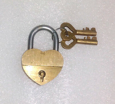 An Unusual CHARISMATIC Brass A Lovely Heart Shape PADLOCK with 2 keys India
