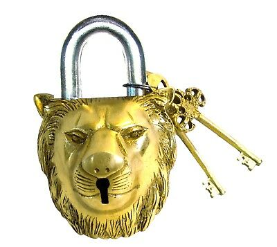 Vintage Antique Finish Brass Lion Face Padlock with Keys Lion Design Lock Gift