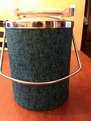 Mid-Century Vintage Retro Ice Bucket Teal Blue Vinyl with Chrome Lid & Tongs~MOD