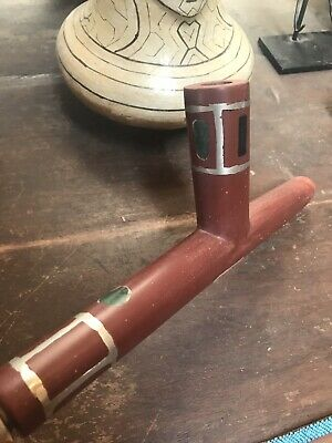 Native American Catlinite Pipe With Lead And Stone Inlay Brule County S. Dakota