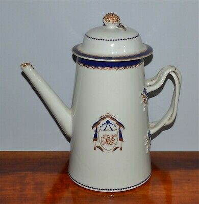 Antique Chinese Export Armorial Porcelain Covered Coffee Pot 19th C AS IS
