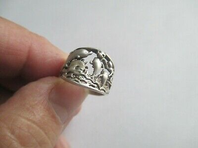 Dolphin Ring.with waves..Unique..STERLING SILVER..New..Taxco, Mexico