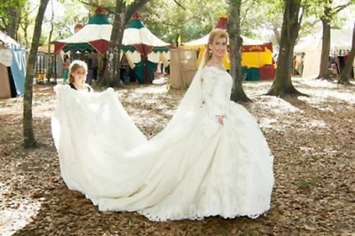 Renaissance Medieval Fantasy Couture Gold Lame Wedding Dress Bridal Ball Gown
