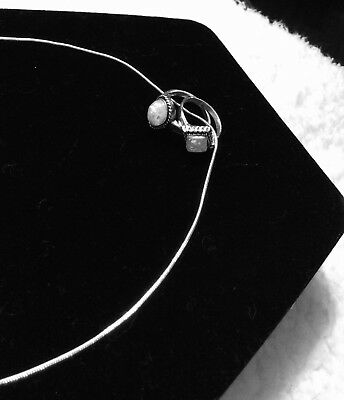 Sterling Silver Snake Chain With 2 Pearlescent Stone Rings Pendant Necklace..New