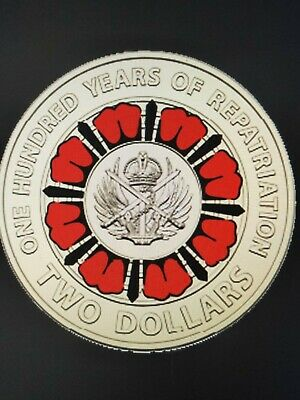 5 Coin 2019 $2  Ram Sachet 100 Years Of Repatriation Red Coloured Coin Unc