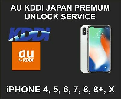 KDDI, AU Japan Premium Unlock Service, fits iPhone 4, 5, 6, SE, 7, 7+, 8, 8+, X