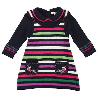 KENZO Baby girl midnight striped knitted dress 12 months