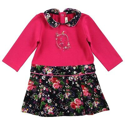 KENZO Baby girl fuschia pink and ink floral dress 12 months