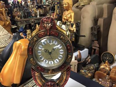 Vintage Large Egyptian Copper  King Tut Clock 1980 Made In Egypt