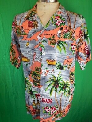 Vintage Bright Grey & Coral Polyester Fijian Islands Tiki Beach Resort Shirt M/L