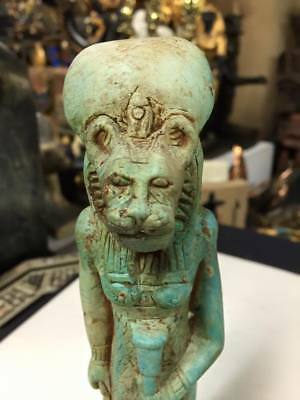 Vintage Goddess Sekhmet Statue Hand Carve Natural Limestone Made In Egypt