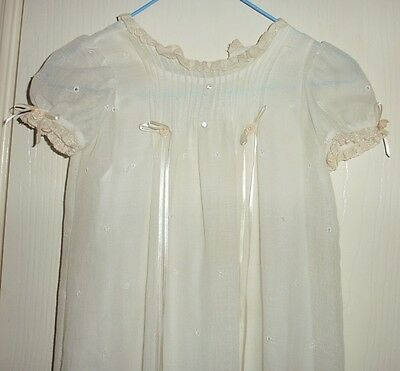 """Vintage antique CHRISTENING GOWN   Flowing Gown 38"""" Long Hand stitched made"""
