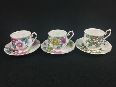 Royal Albert Flower of the Month 3 Cups & Saucers Cosmos Chrysanthemum Holly