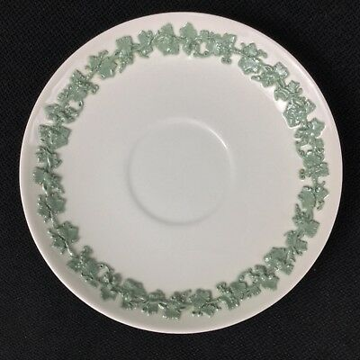 "Wedgwood Queensware Celadon Green on Cream 6 5/8"" Cream Soup Saucer Smooth Edge"