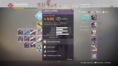 Destiny 2 Lunas Howl Full Quest Completion  (PS4)