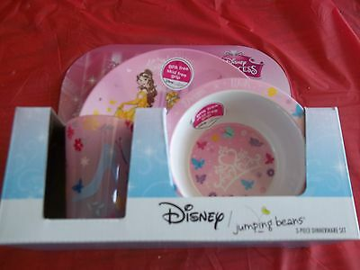 Disney princess jumping bean 3pc dinnerware set New