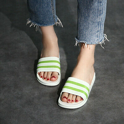 81a3002ee Womens Beach Flip Flops Striped Flat Sandals Casual Home Shoes Slippers  Non-slip