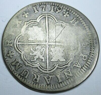 1719 Spanish Silver 2 Reales Piece of 8 Real Colonial Era Two Bits Pirate Coin