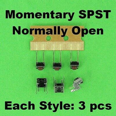 Momentary SPST Push Button Switch Normally Open Right Angle PC Mount Solder Pin