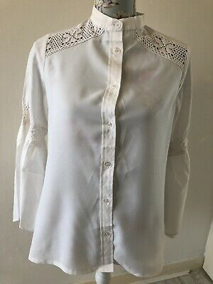 Vintage Ivory Cream Flared Sleeve Crochet Detail Blouse Shirt Size 10/ 12