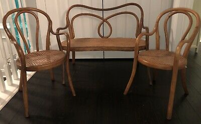 Rare! Original THONET Antique Child's Bentwood Settee Bench w Two Chairs Labels