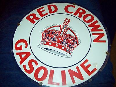 red crown gasoline porcelain sign advertisement round