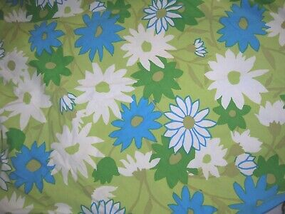 Vintage 50s 60s Round Daisy Floral Tablecloth Blue Green White Cotton