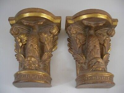 XL Chinese Chippendale Style Gold Gilt Wall Bracket Shelves Grand Tour Style