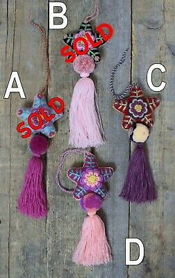 Star Tassel Pom Pom Hand Embroidered - SOLD SEPERATELY - Mayan Mexican Folk Art