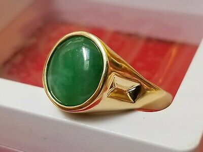 Mens Womens Jade 18k Yellow Gold Ring Certified Free Returns