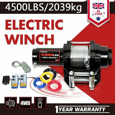 AU 4500LBS/2039kg Electric Winch Steel Cable Wireless ATV 4WD 2 REMOTES 12V TOP
