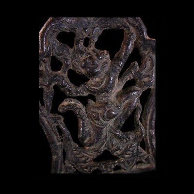 Khmer bronze pendant in open-work with image of the god Hanuman x5316