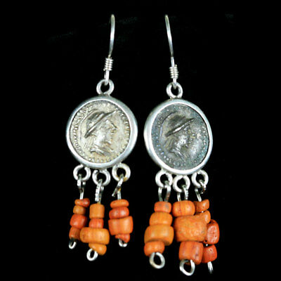 A pair of earrings with central Bactrian empire silver coated copper coin. y2774