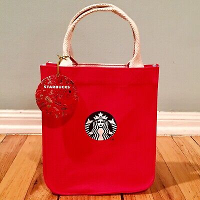 NWT STARBUCKS 2018 HOLIDAY CANVAS TOTE BAG CHRISTMAS RED w/ FESTIVE PATTERN