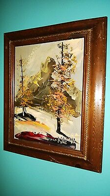 "Morris Katz Original Oil Painting 12"" x 16"" Signed 1981 ""AUTUMN IN MOUNTAINS?"""