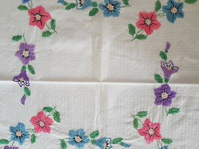 Vintage HAND EMBROIDERED SPRING FLOWERS WREATHS tablecloth