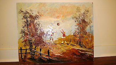 "Morris Katz Original Oil Painting 24"" x 30"" Signed 1982 ""SUMMERBREAK VOLLEYBAL?"