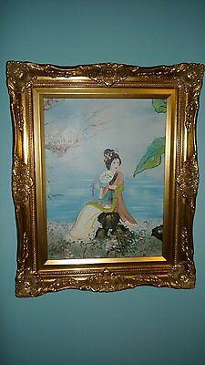 "VINTAGE ORIGINAL JAPANESE OIL PAINTING ON CANVAS ""Japanese Woman ""SIGNED, FRAMED"
