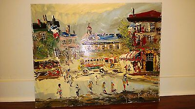 "Morris Katz Original Oil Painting 24"" x 30"" Signed 1989 ""AFTERNOON IN PARIS ?"""