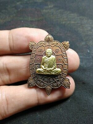 TURTLE  LP. whan Wat klongkoon Thai Amulet coin BE. 2561 copper & brass mask