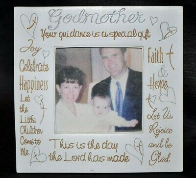 NWT GODMOTHER Christian PRAYER Picture Frame FAITH LORD GIFT Keepsake BAPTISM
