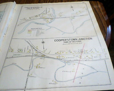 Original 1903 Maps Colliersville And Cooperstown Junction  Ny Otsego Co