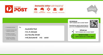 Australian Post Domestic Letter With Tracking Small Prepaid DL Envelope 10 Pack