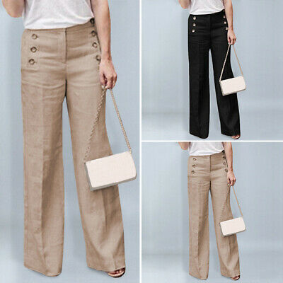 Plus Size Womens Solid Work Wide Leg Pants High Waist Loose Side Button Trousers