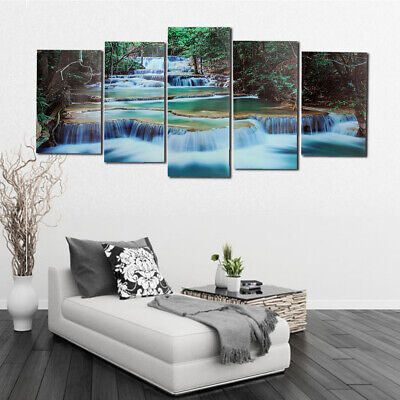 Framed Forest Waterfall Canvas Print Painting Pictures Home Wall Art Decoration