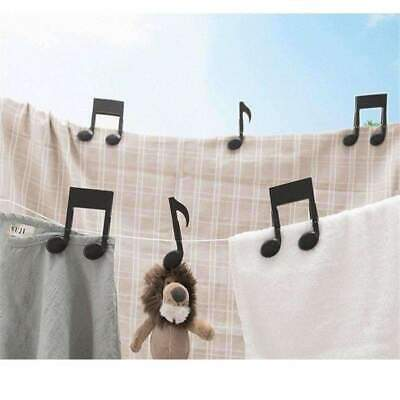 Music Notes Black Clips/Pegs - Set of 2